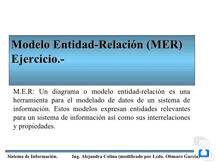 Modelo Entidad-Relación (MER) Ejercicio.-  M.E.R: Un diagrama o modelo entidad-relación es una  herramienta para el modela...