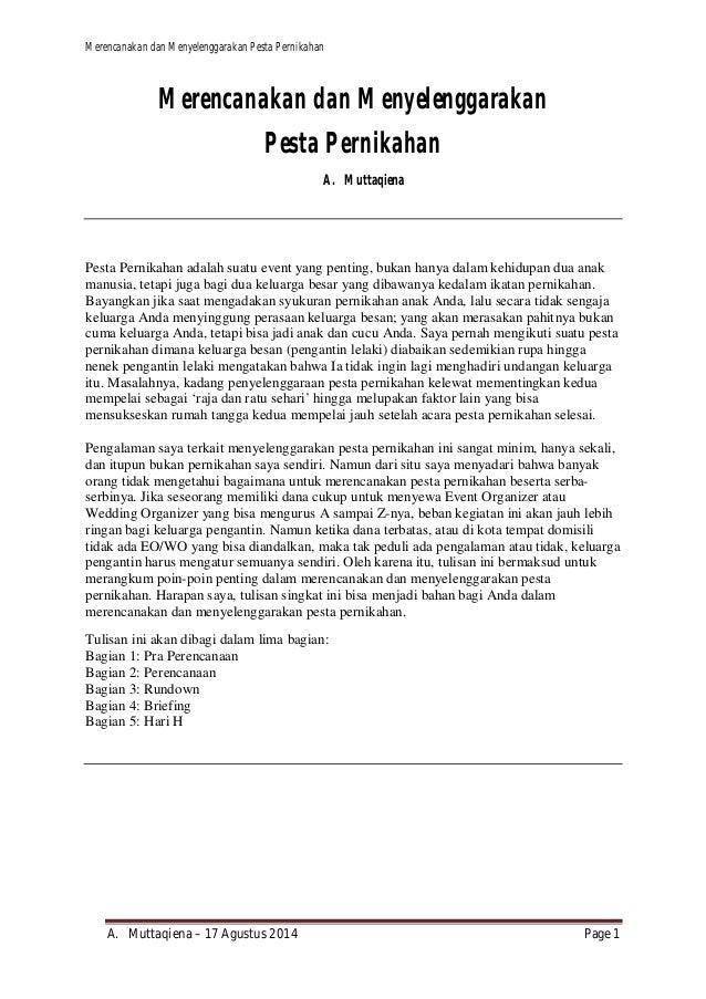 Merencanakan dan Menyelenggarakan Pesta Pernikahan  Merencanakan dan Menyelenggarakan  Pesta Pernikahan  A. Muttaqiena  Pe...