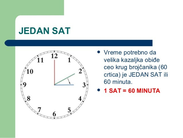 JEDAN SAT Vreme potrebno davelika kazaljka obiđeceo krug brojčanika (60crtica) je JEDAN SAT ili60 minuta. 1 SAT = 60 MIN...