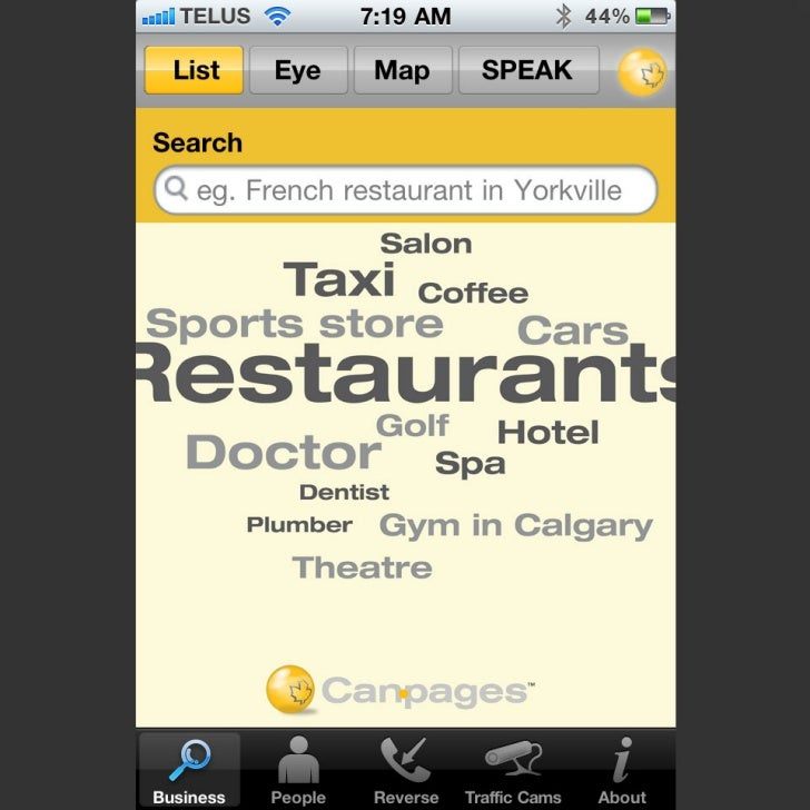 Updated Canpages iPhone app