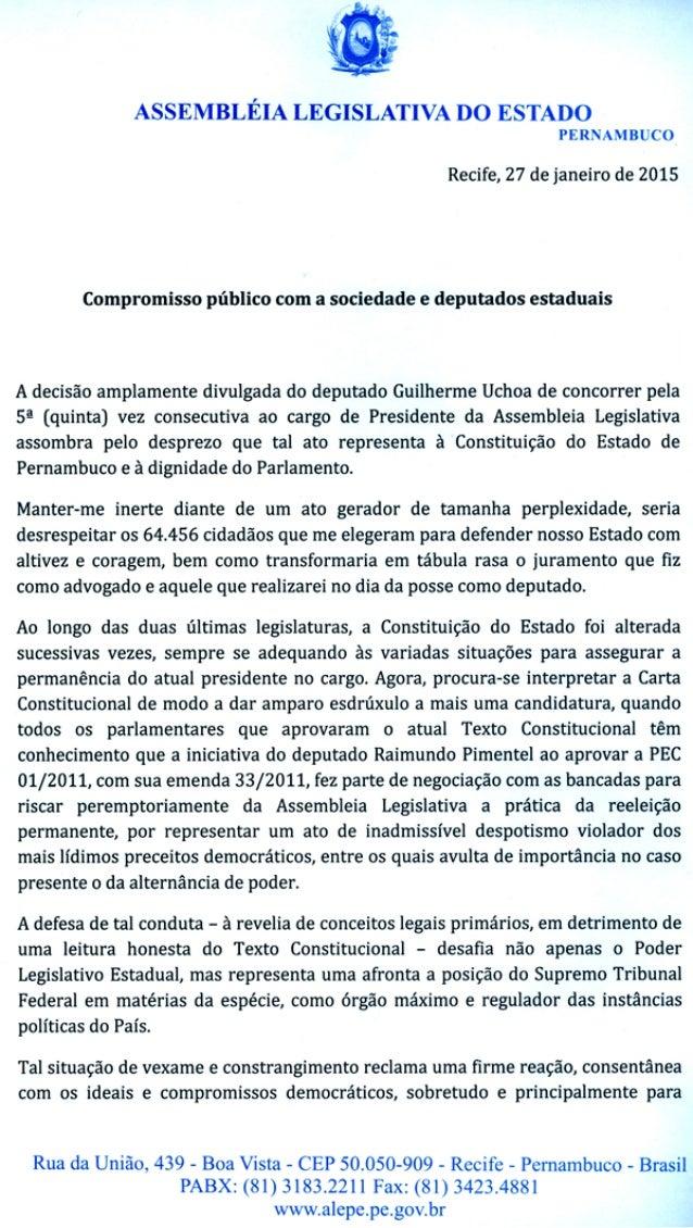 Compromisso público com a sociedade e deputados estaduais