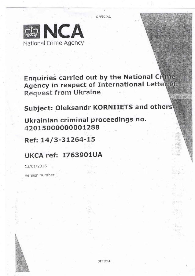 OFFiCIAL NCANational Crime Agency Enqulries carried out by the National C Agency in respeet of ltlternational Lette Reques...