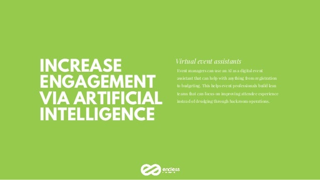 INCREASE ENGAGEMENT VIA ARTIFICIAL INTELLIGENCE Virtual event assistants Event managers can use an AI as a digital event a...