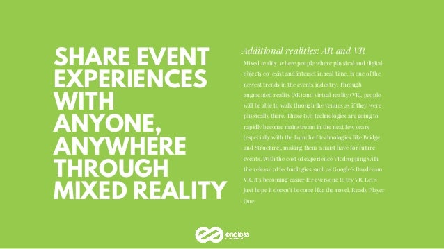 SHARE EVENT EXPERIENCES WITH ANYONE, ANYWHERE THROUGH MIXED REALITY Additional realities: AR and VR Mixed reality, where p...