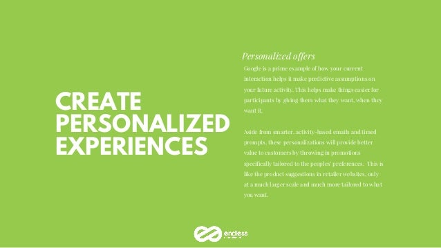 CREATE PERSONALIZED EXPERIENCES Personalized offers Google is a prime example of how your current interaction helps it mak...