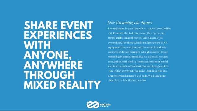 SHARE EVENT EXPERIENCES WITH ANYONE, ANYWHERE THROUGH MIXED REALITY Live streaming via drones Livestreaming is everywhere ...