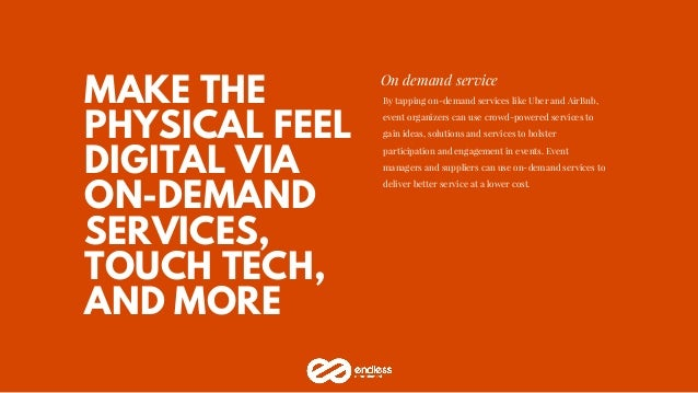 MAKE THE PHYSICAL FEEL DIGITAL VIA ON-DEMAND SERVICES, TOUCH TECH, AND MORE On demand service By tapping on-demand service...