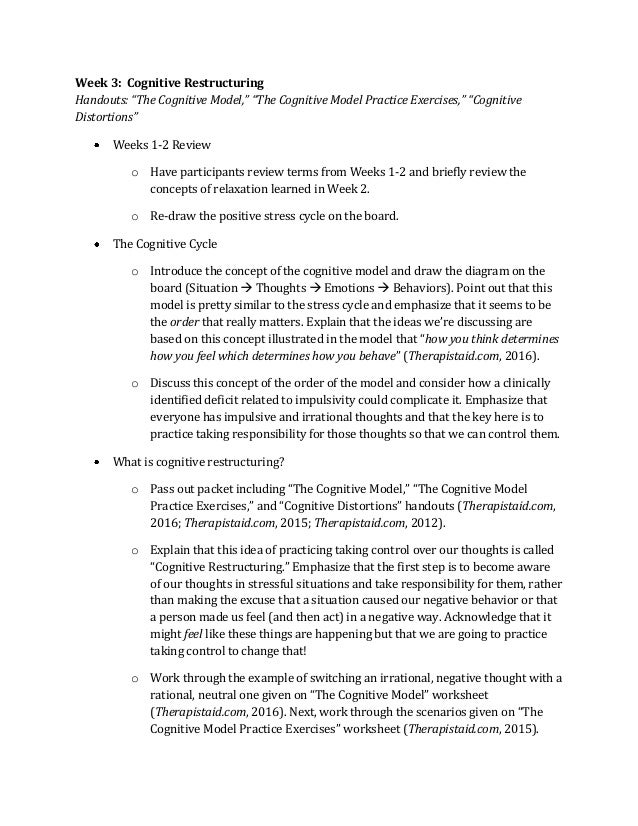 REC 5338 Value Added Project – Cognitive Restructuring Worksheet