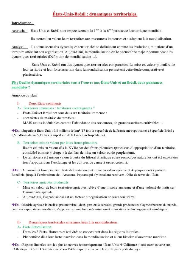 États-Unis-Brésil : dynamiques territoriales. Introduction : Accroche : - États-Unis et Brésil sont respectivement la 1ère...