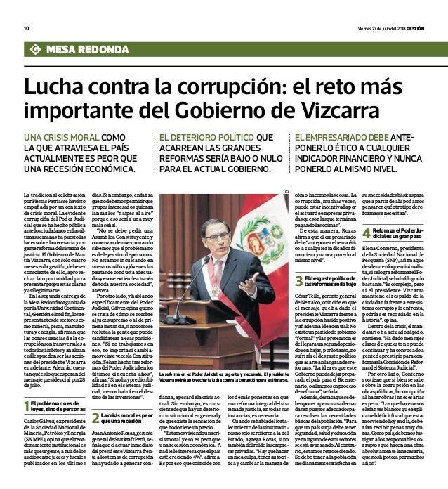 10 viernes 27 de julio del 2018 Gestión Lucha contra la corrupción: el reto más importante del Gobierno de Vizcarra mesa r...
