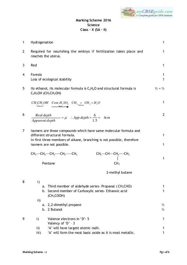 marking scheme of maths class 10