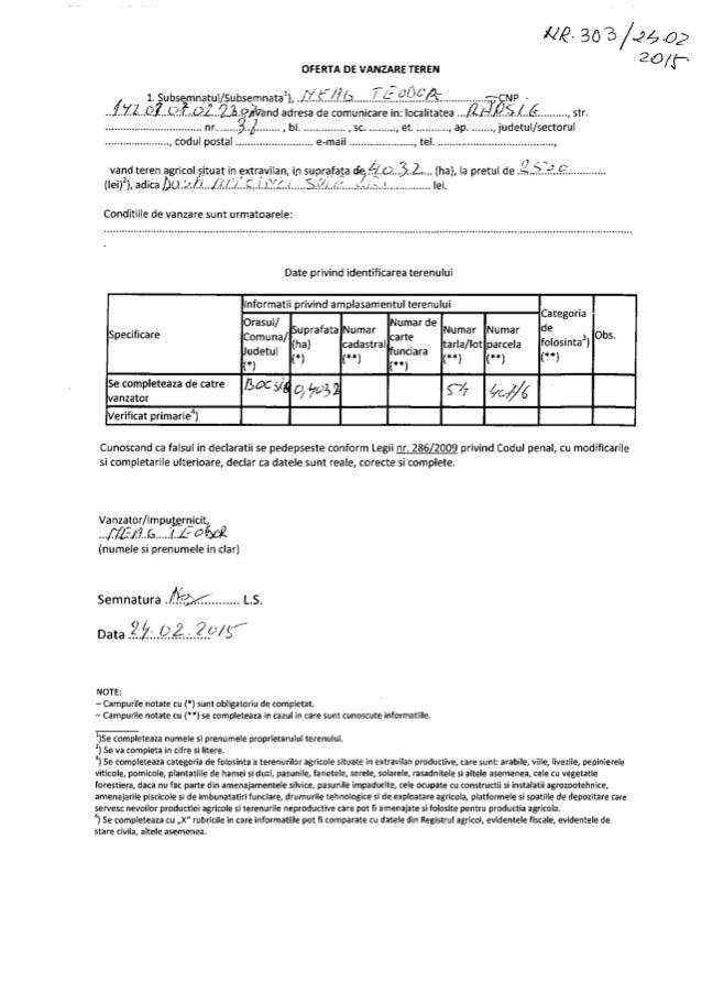 #6- 303/2402 ago/ p.  OFERTA DE VANZARE TEREN  l 1. ubsâmnatøul/ Subsemnatal),   .1,71.. CZ'. ... C.? :(. :.(2L. .2,7:§>Ã'...