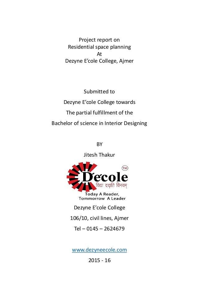 Jitesh Thakur BSc Interior Design One Year Residential Diploma