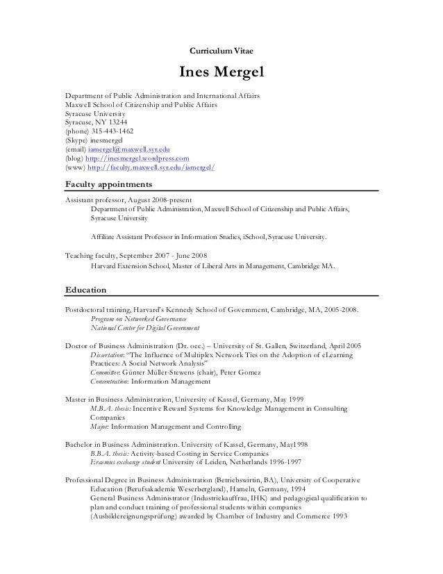 Curriculum Vitae                                      Ines MergelDepartment of Public Administration and International Aff...