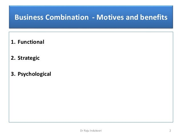 Merger   motives, benefits and outcomes Slide 2