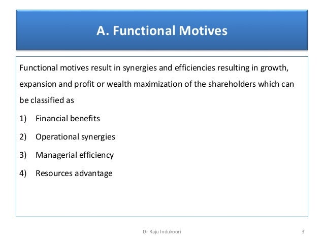 Merger   motives, benefits and outcomes Slide 3