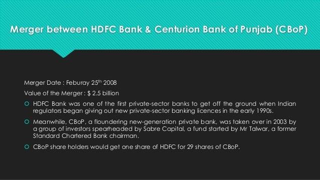 case study merger hdfc bank centurion bank punjab