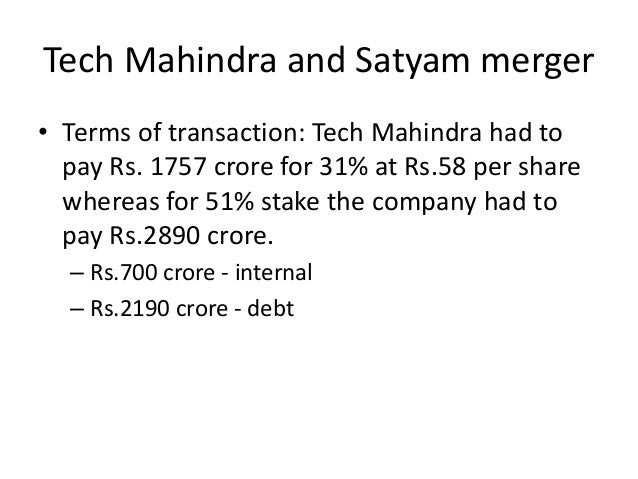 corporate strategy satyam acquisition by tech Two case studies in mergers and acquisitions:  strategic fit and the failure may result from a flawed business and corporate strategy  the acquisition.