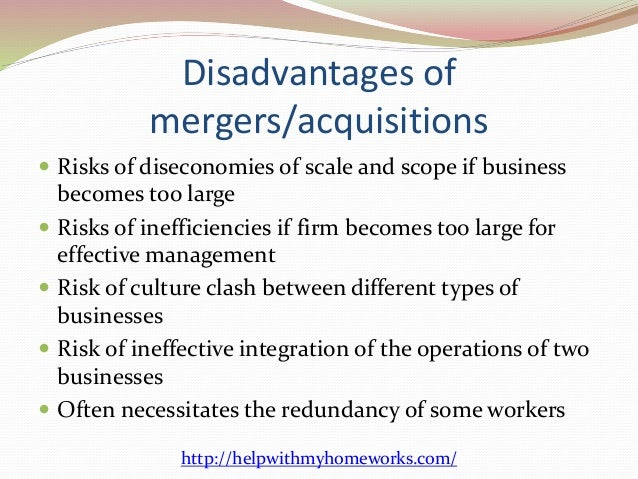 disadvantages associated with combination and even acquisition