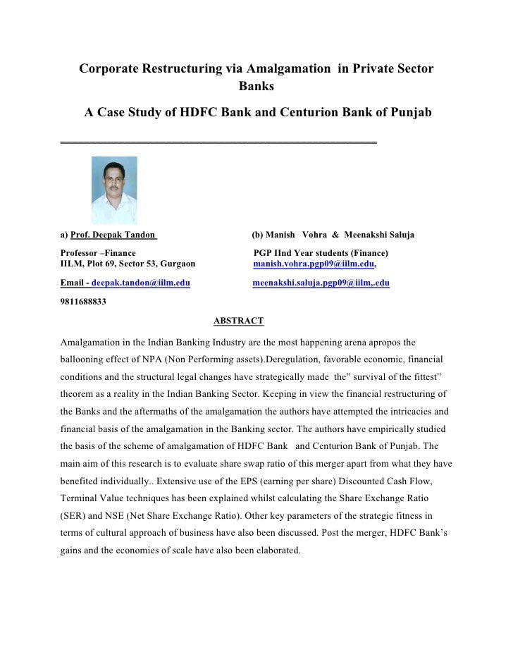 Corporate Restructuring via Amalgamation in Private Sector                               Banks       A Case Study of HDFC ...