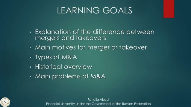 merger definition and difference between merger Mergers and acquisitions methods by which corporations legally unify ownership of assets formerly subject to separate controls a merger or acquisition is a combination of two companies where one corporation is completely absorbed by another corporation.