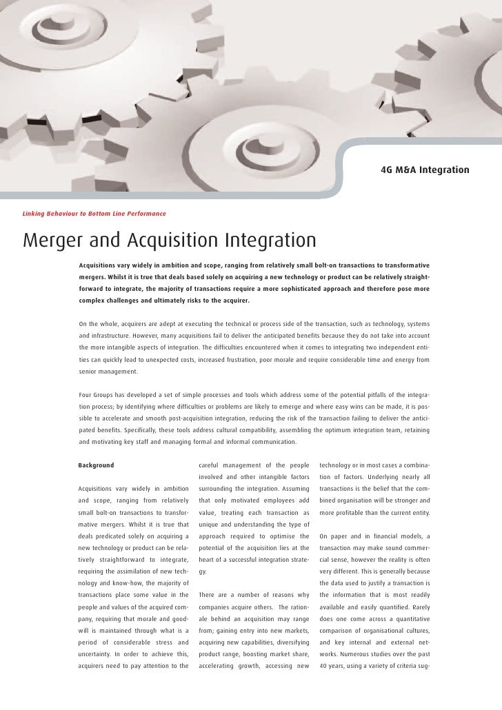 4G M&A Integration    Linking Behaviour to Bottom Line Performance    Merger and Acquisition Integration                  ...