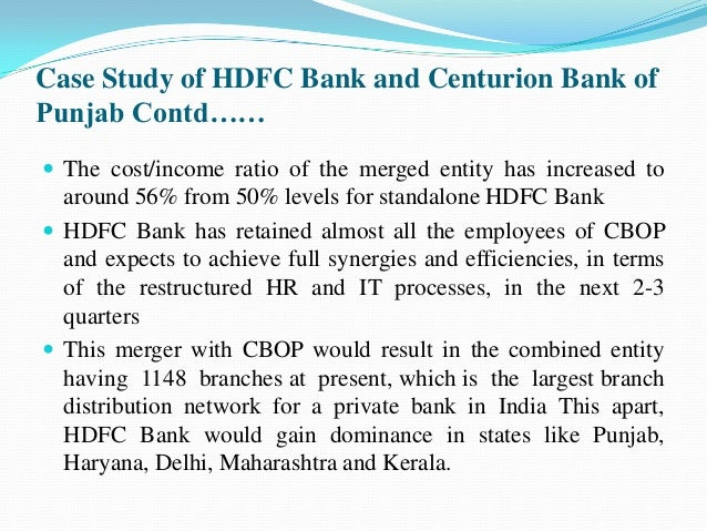 case study merger hdfc bank centurion bank punjab