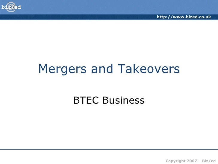 Mergers and Takeovers BTEC Business