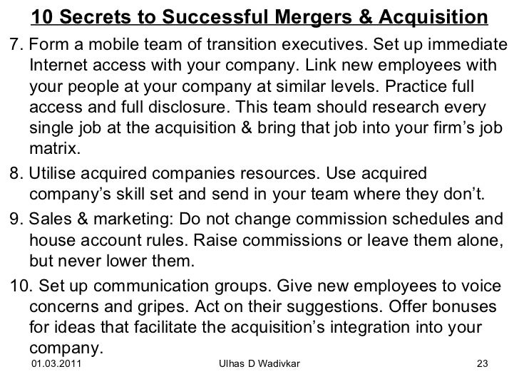 Mergers acquisitions for mba wadivkar 23 10 secrets to successful mergers acquisition fandeluxe Gallery