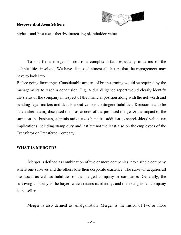 Mergers & acquisitions Slide 2