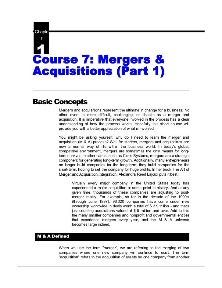 Mergers & acquisitions nots @ bec doms