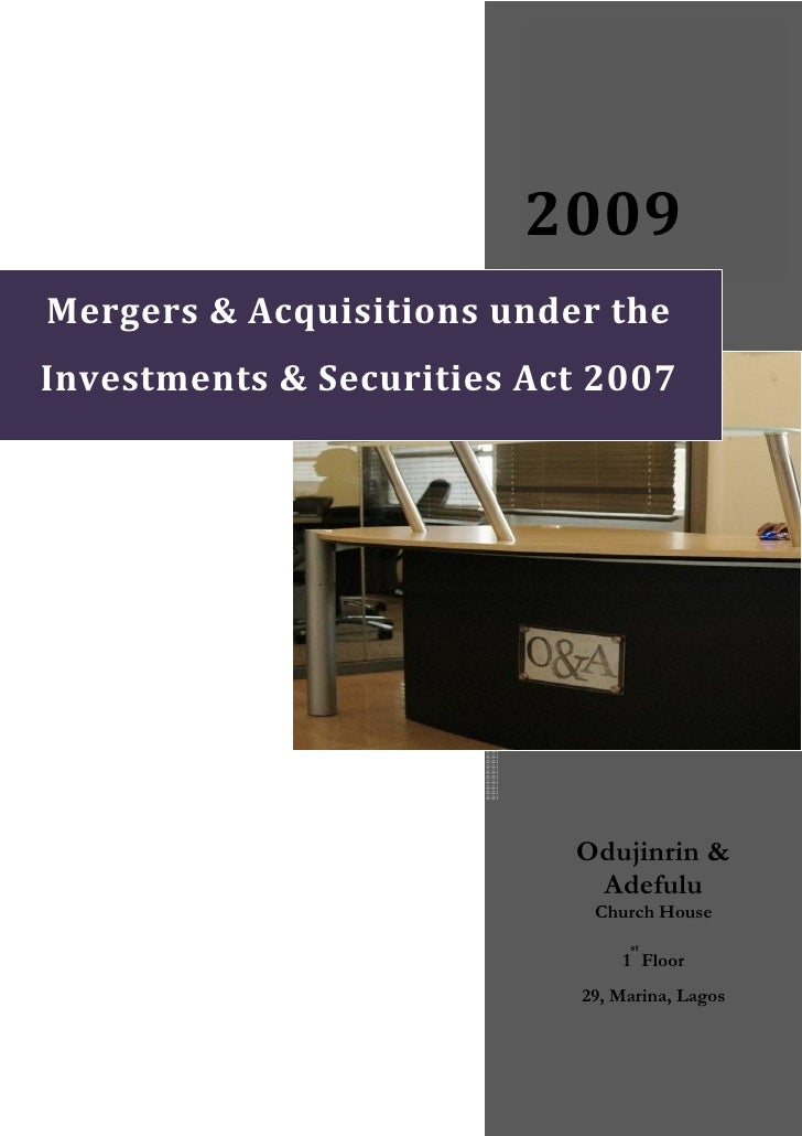 2009 Mergers&Acquisitionsunderthe Investments&SecuritiesAct...