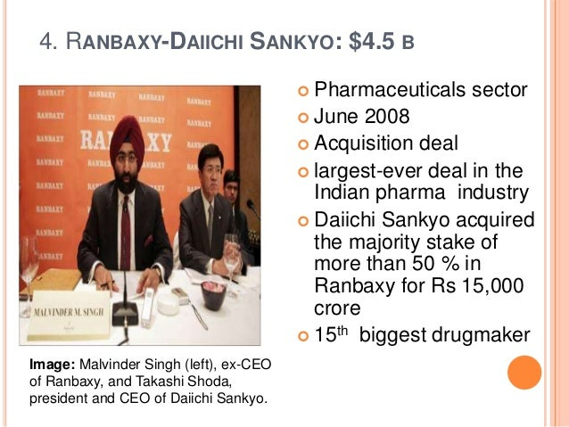 the merger of ranbaxy and daiichi On april 7, 2014, daiichi sankyo announced that it has agreed to vote its shares in ranbaxy in favor of sun pharma's acquisition of 100% of ranbaxy through the merger process which entails a share swap.