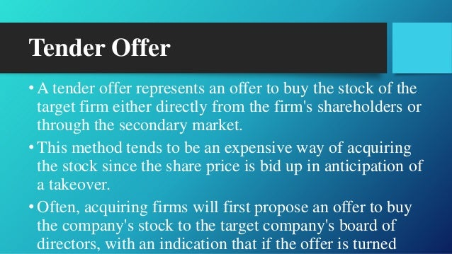 Tender offer stock options