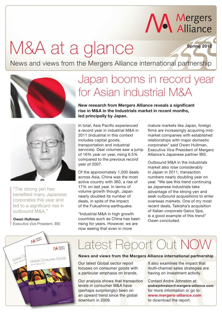 M&A at a glance                                                                            Spring 2012News and views from ...