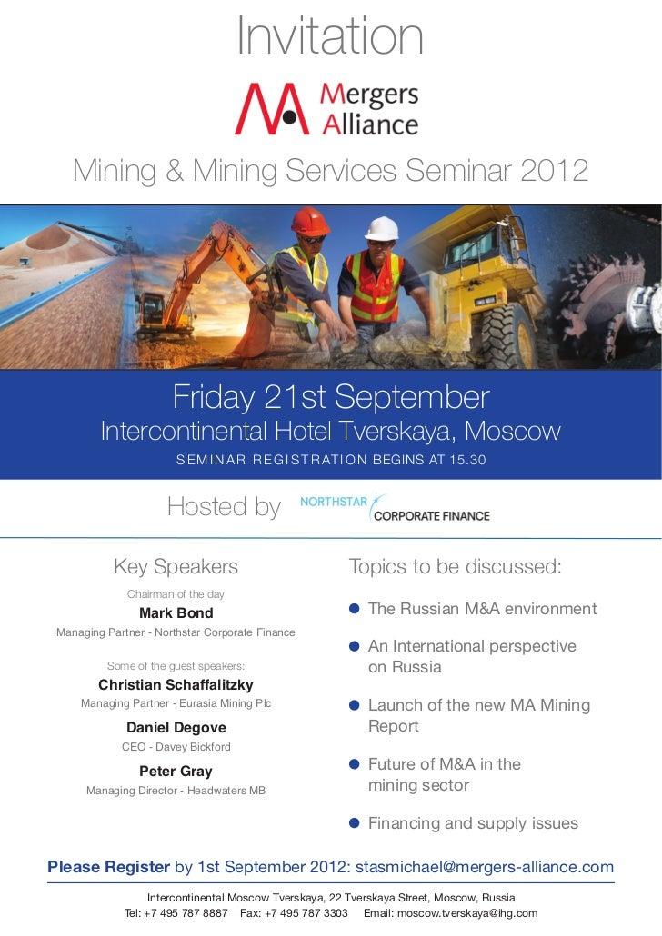 Invitation    Mining & Mining Services Seminar 2012                       Friday 21st September         Intercontinental H...
