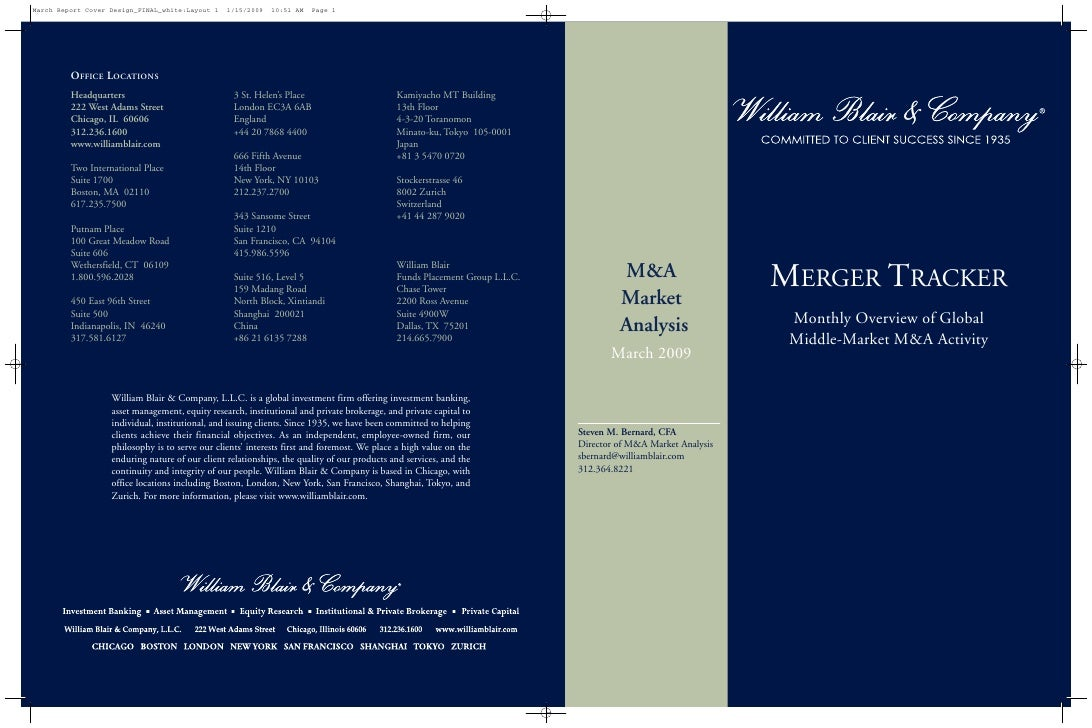 MERGER TRACKER          M&A          Market                                    Monthly Overview of Global          Analysi...