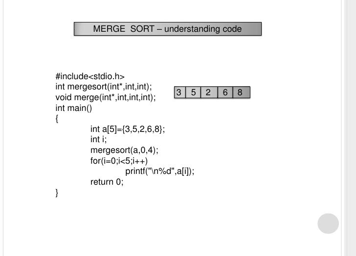 write a c program for merge sort