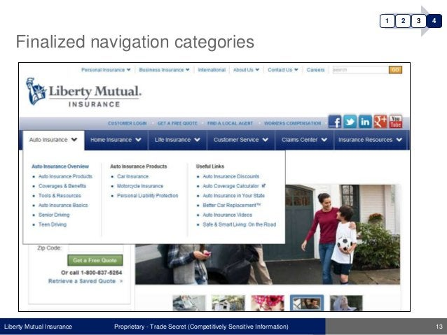 Liberty Mutual Insurance Finalized navigation categories Proprietary - Trade Secret (Competitively Sensitive Information) ...