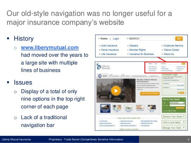 Liberty Mutual Insurance Our old-style navigation was no longer useful for a major insurance company's website  History o...