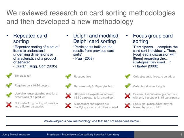 Liberty Mutual Insurance We reviewed research on card sorting methodologies and then developed a new methodology Proprieta...