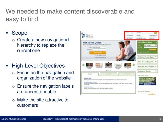 Liberty Mutual Insurance We needed to make content discoverable and easy to find  Scope o Create a new navigational hiera...