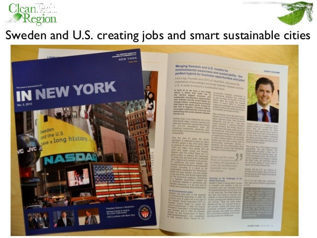 Sweden and U.S. creating jobs and smart sustainable cities