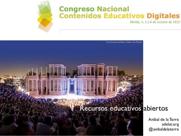 Foto Festival de Teatro Clásico de MéridaRecursos educativos abiertos                                                    A...