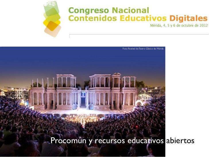 Foto Festival de Teatro Clásico de MéridaProcomún y recursos educativos abiertos