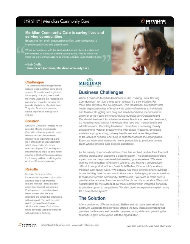 """  CASE STUDY Meridian Community Care  Meridian Community Care is saving lives and serving communities  ""  Expanding non-p..."
