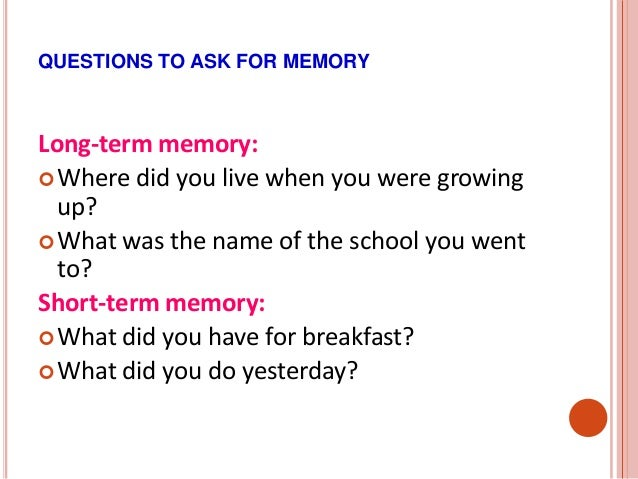 the longest memory essay questions Encoding involves the input of information into the memory system  after you  complete each question, you will be able to see how your answers match up to  the  using the recall exercise explained above to determine the longest string  of digits that you can store  for example, you would use recall for an essay test.