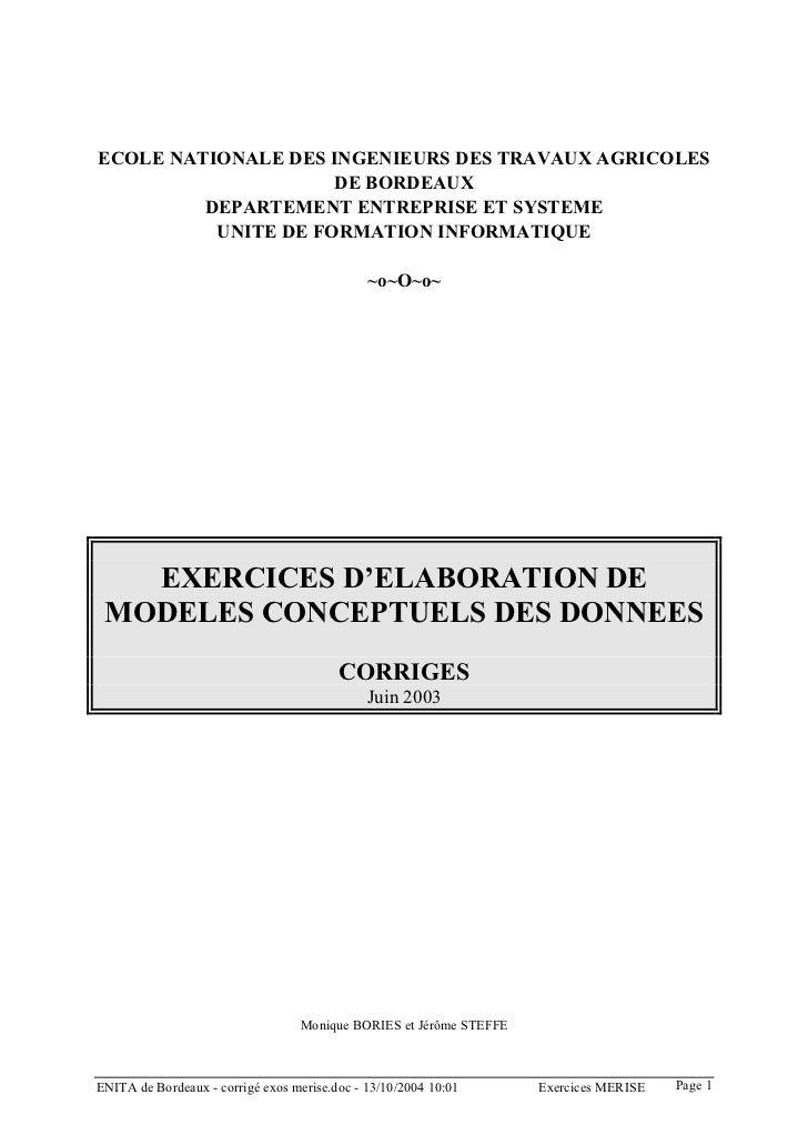 ECOLE NATIONALE DES INGENIEURS DES TRAVAUX AGRICOLES                     DE BORDEAUX         DEPARTEMENT ENTREPRISE ET SYS...