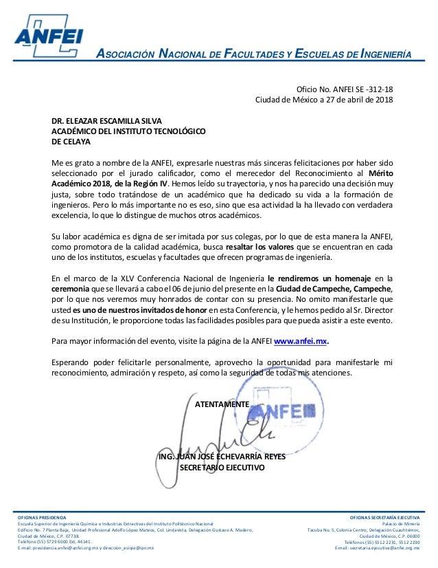 ASOCIACI�N NACIONAL DE FACULTADES Y ESCUELAS DE INGENIER�A OFICINAS PRESIDENCIA Escuela Superior de Ingenier�a Qu�mica e I...