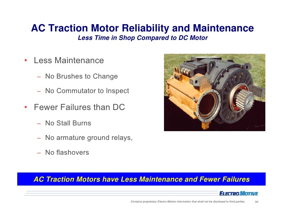 Merits of ac vs dc locomotives for Ac and dc motor